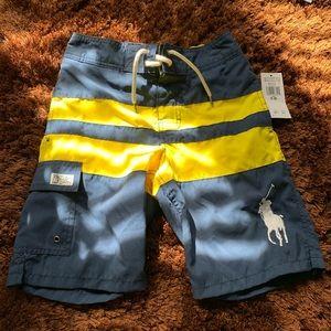 NWT Polo Ralph Lauren Navy Yellow Boardshorts 8